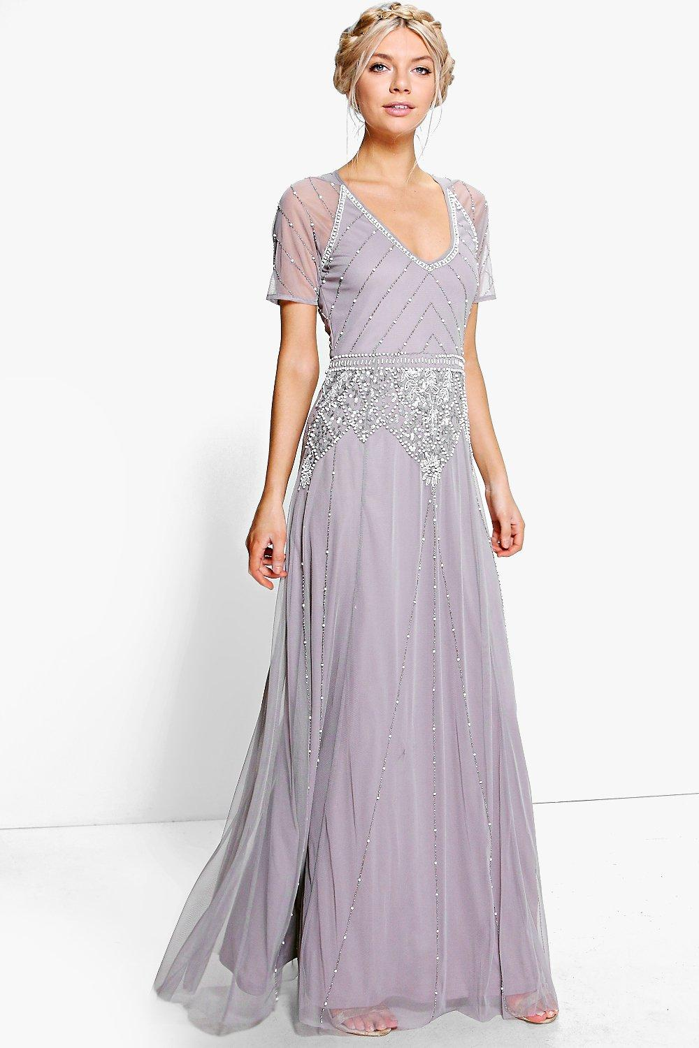 Best 1920s Prom Dresses – Great Gatsby Style Gowns Womens Boutique Beaded Cap Sleeve Maxi Dress - grey - 16 $105.00 AT vintagedancer.com