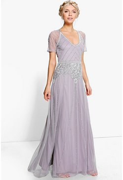 Womens Grey Boutique Beaded Cap Sleeve Maxi Dress