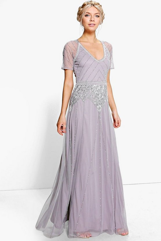 Downton Abbey Costumes Ideas Boutique Mai Beaded Cap Sleeve Maxi Dress grey $96.00 AT vintagedancer.com