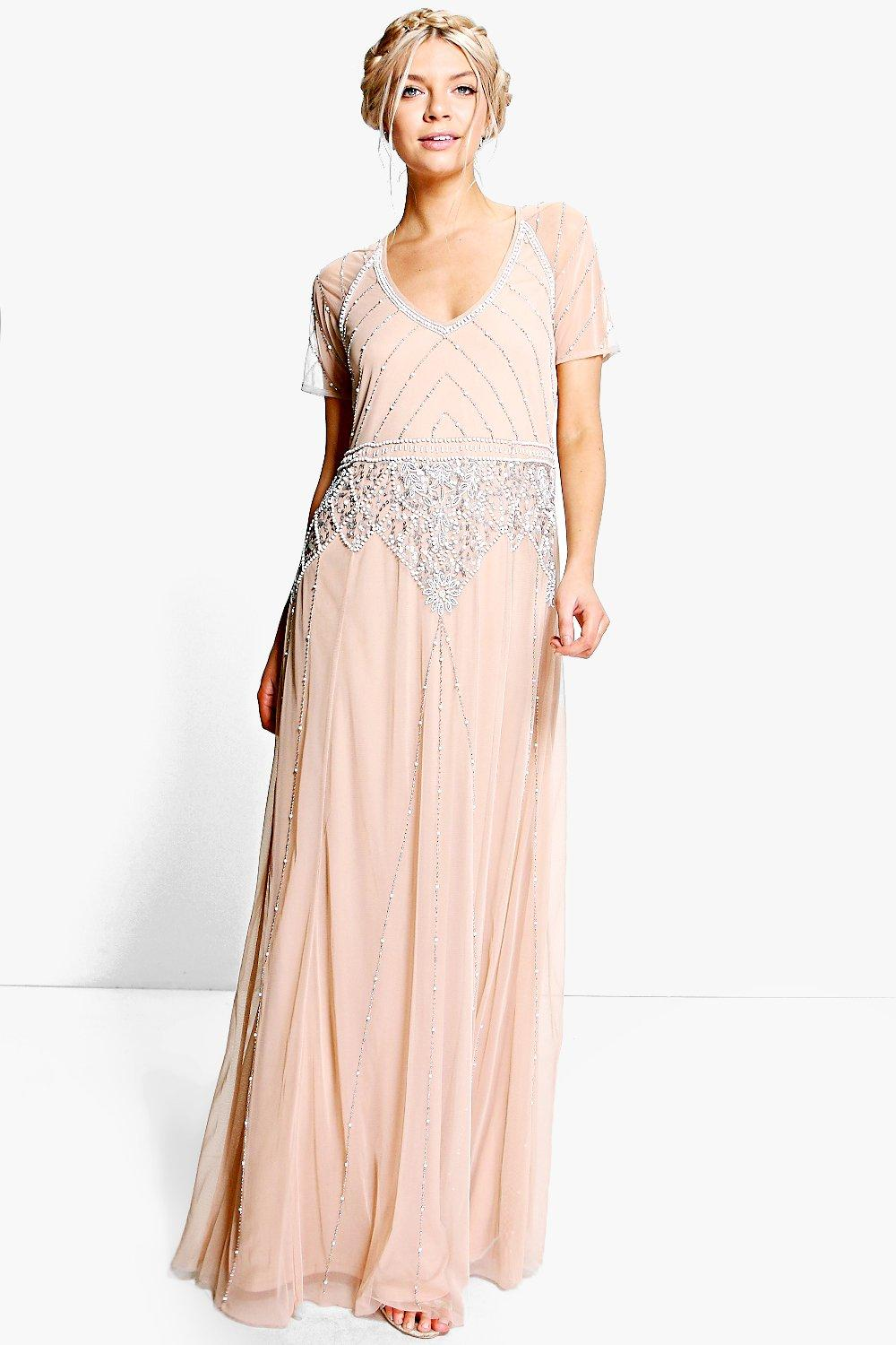 Authentic 1920s Makeup Tutorial Womens Boutique Beaded Cap Sleeve Maxi Bridesmaid Dress - Beige - 10 $28.00 AT vintagedancer.com