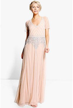 Boutique maxi abito con maniche ad aletta e perline, Color carne, Femmina