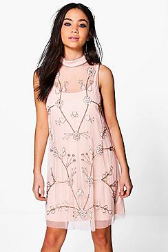 Where to Buy 1920s Dresses Boutique Nora Embellished Swing Dress peach $72.00 AT vintagedancer.com