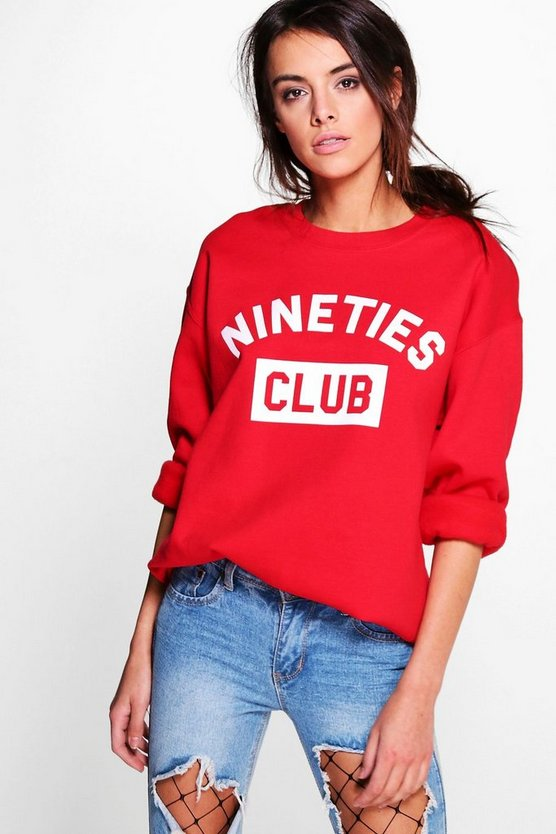 Womens Red Slogan Sweatshirt