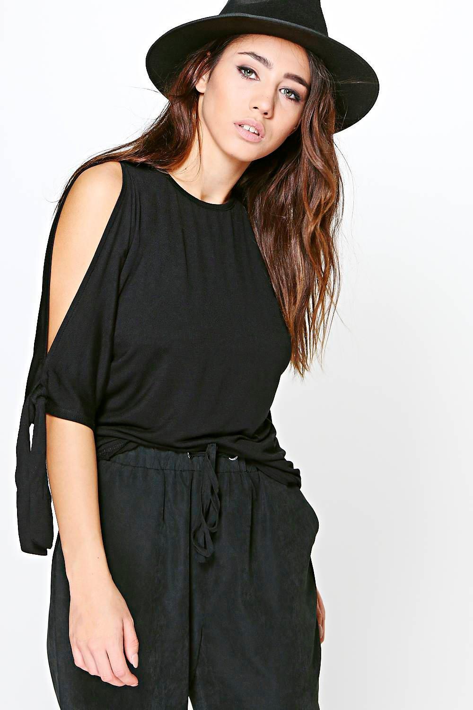 boohoo damen alicia tie sleeve oversized t shirt ebay. Black Bedroom Furniture Sets. Home Design Ideas