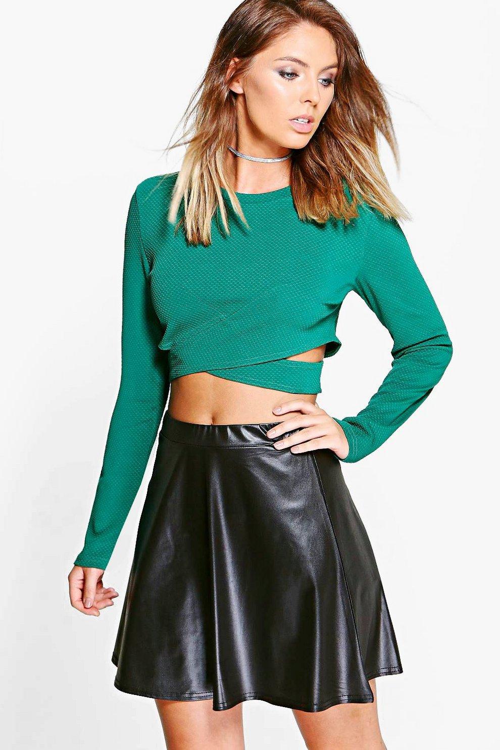 904ca33c6f5c9 Womens Black Lia Leather Look Skater Skirt