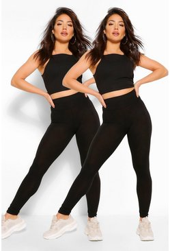 Womens Black 2 Pack Basic High Waist Leggings