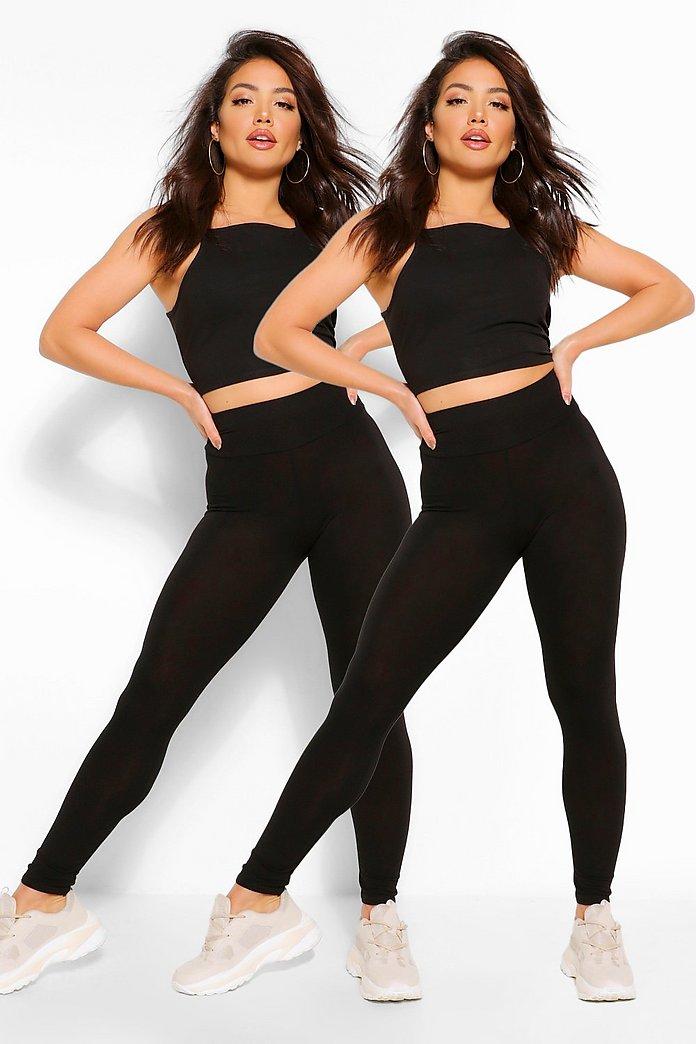 Lot de 2 leggings basiques taille haute | boohoo