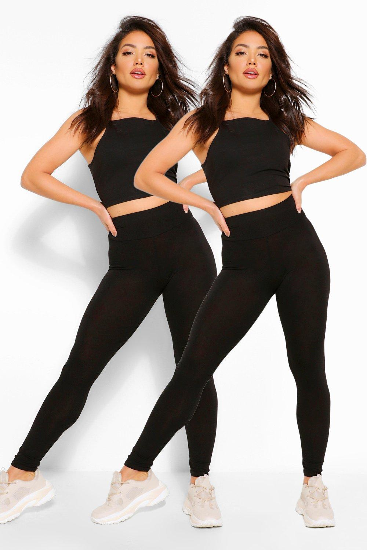 básicos negro 2 cintura leggings de Pack alta con tz6w6q