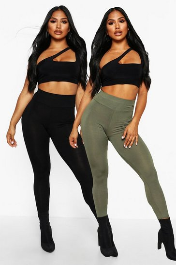 Khaki 2 Pack Basic High Waist Leggings