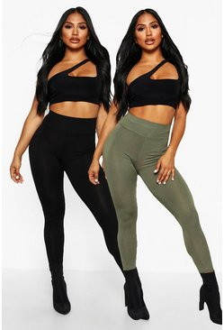 Womens Grey 2 Pack Basic High Waist Leggings
