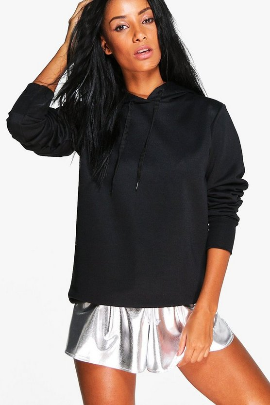 Womens Black Athleisure Running Hooded Sweat