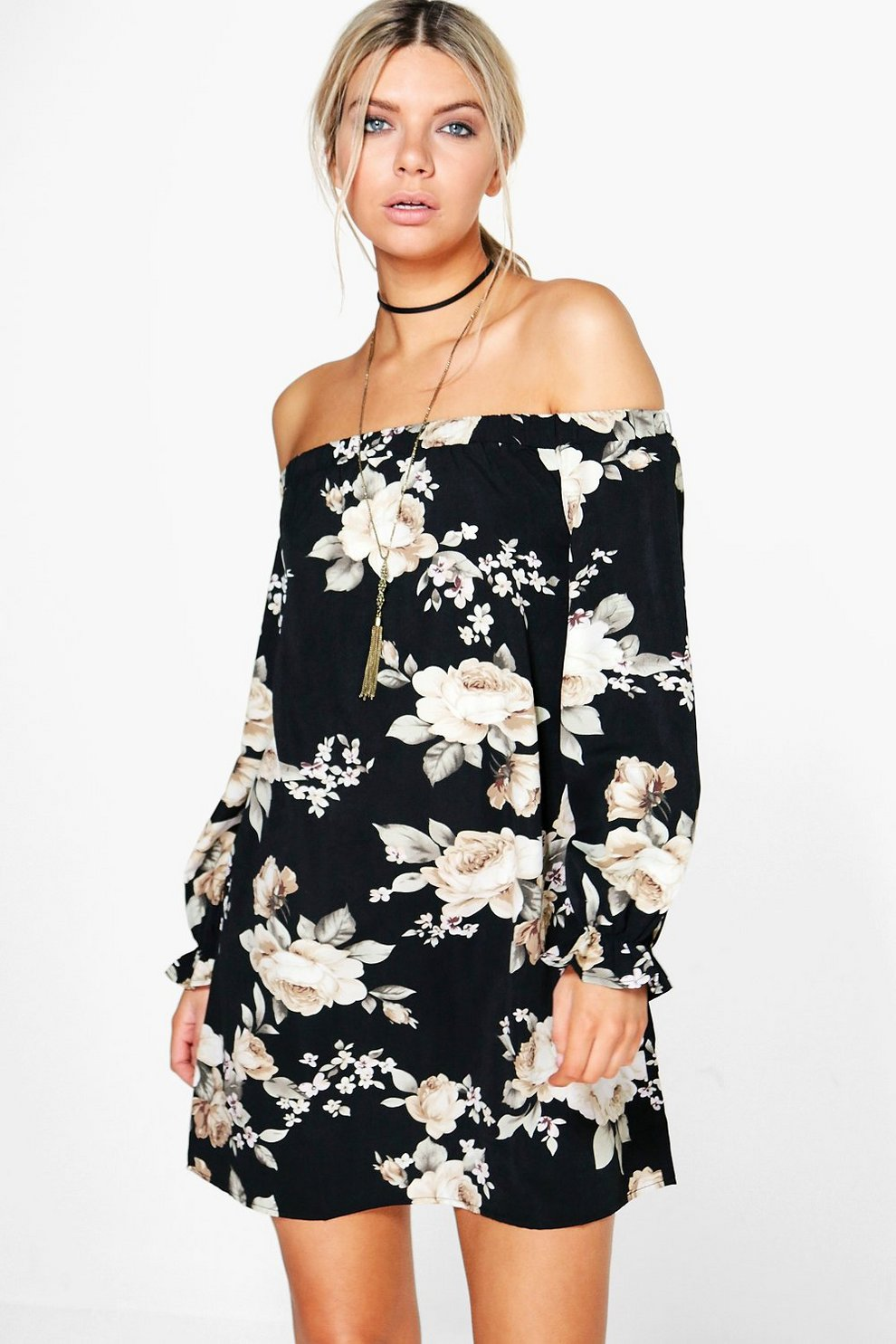 367c80a6a86 Lauren Floral Off Shoulder Shift Dress   Boohoo