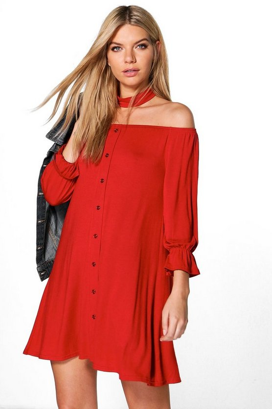 Fiona Off Shoulder Choker Shift Dress