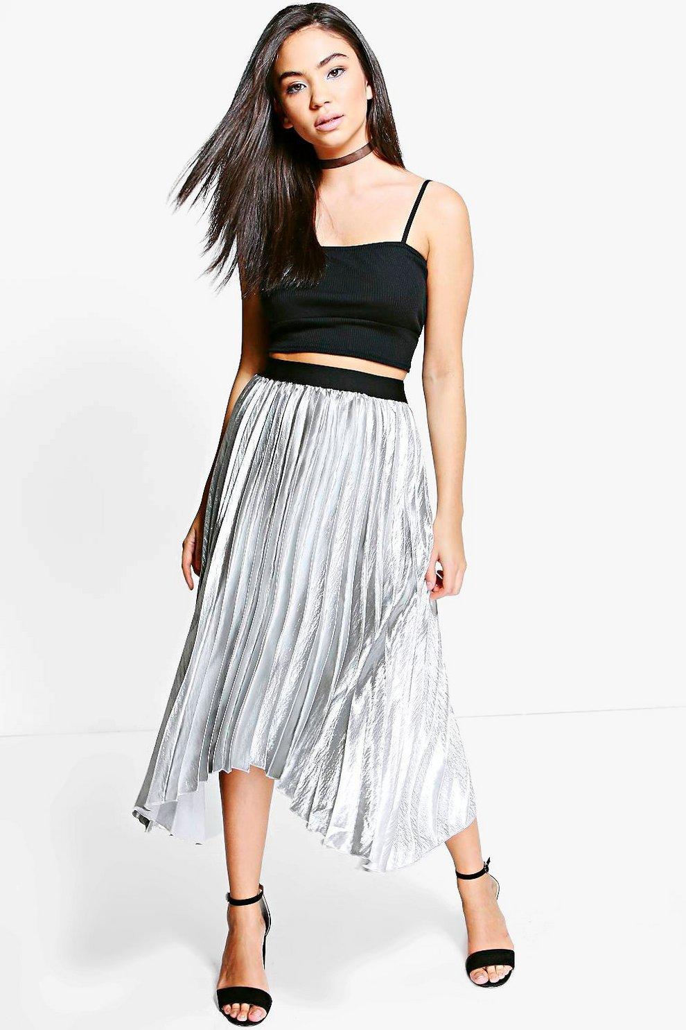 b949e88ef11ef Boutique Lorina Satin Pleat Midi Skirt