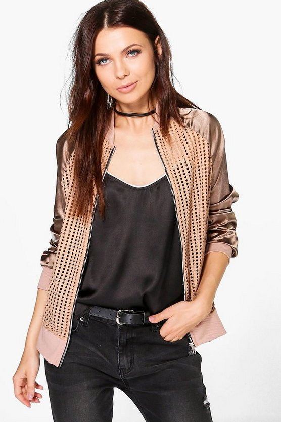 Womens Mocha Anya Airtex Bomber With Satin Sleeve
