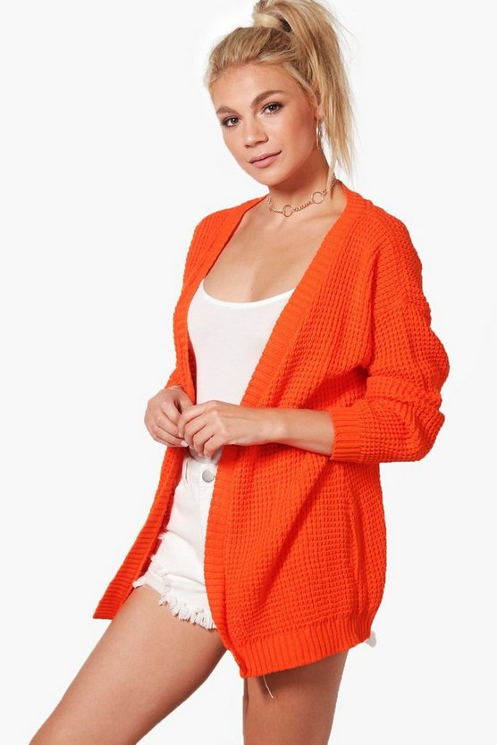 Womens Orange Edge to Edge Waffle Cardigan