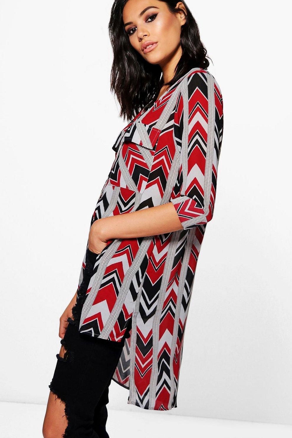 f779cb2a84bbf Layla Mixed Print Woven Longline Blouse | Boohoo