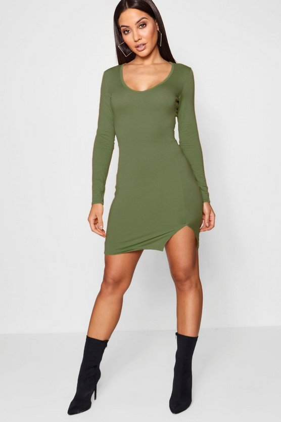 Long Sleeved Split Front Mini Dress