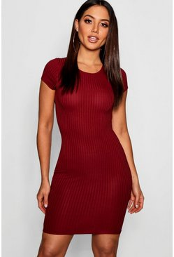 Womens Berry Ribbed Cap Sleeved Bodycon Dress