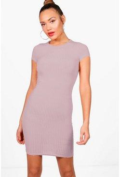 Womens Grey Ribbed Cap Sleeved Bodycon Dress