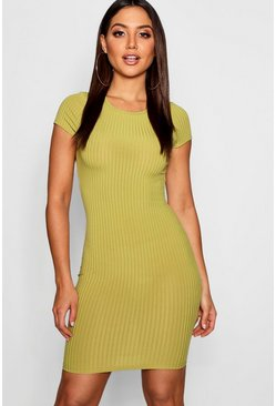 Womens Olive Ribbed Cap Sleeved Bodycon Dress