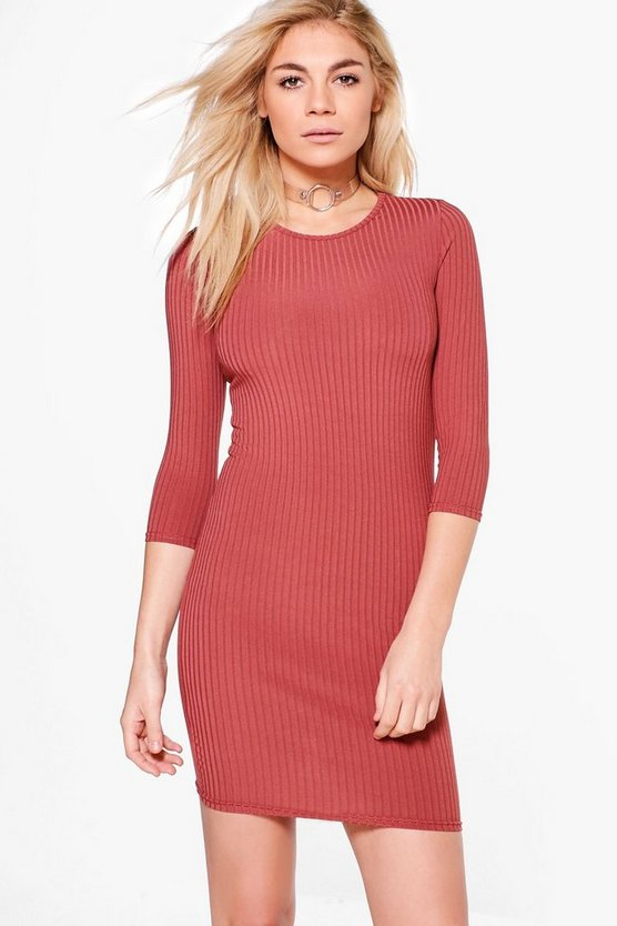 Ribbed 3/4 Sleeved Bodycon Dress