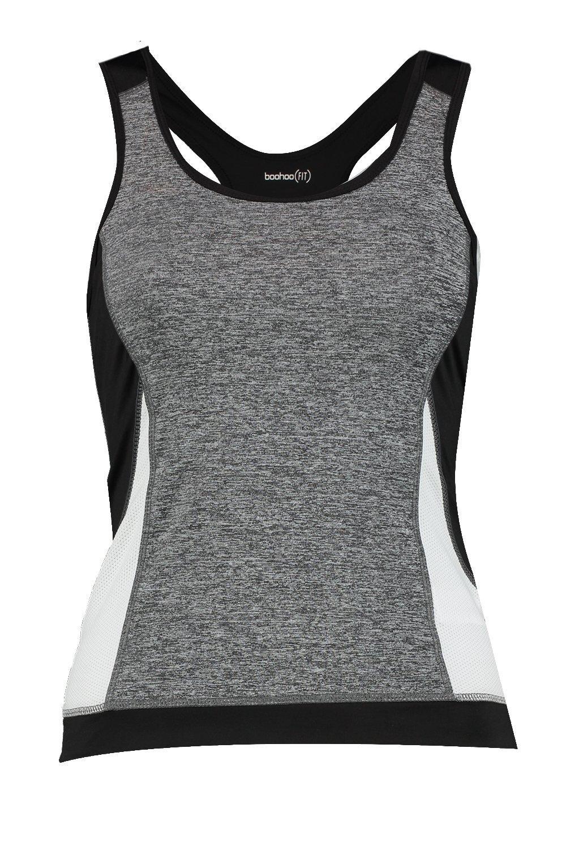 de Blanco rendimiento correr en de de pieza contraste tirantes con Camiseta dqPWvy4d
