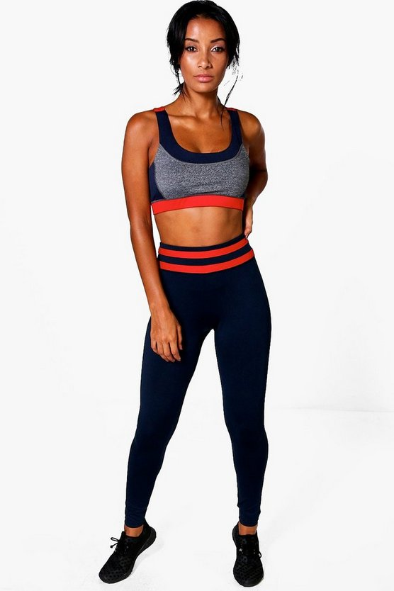 Fit Contrast Panel High Waisted Running Leggings
