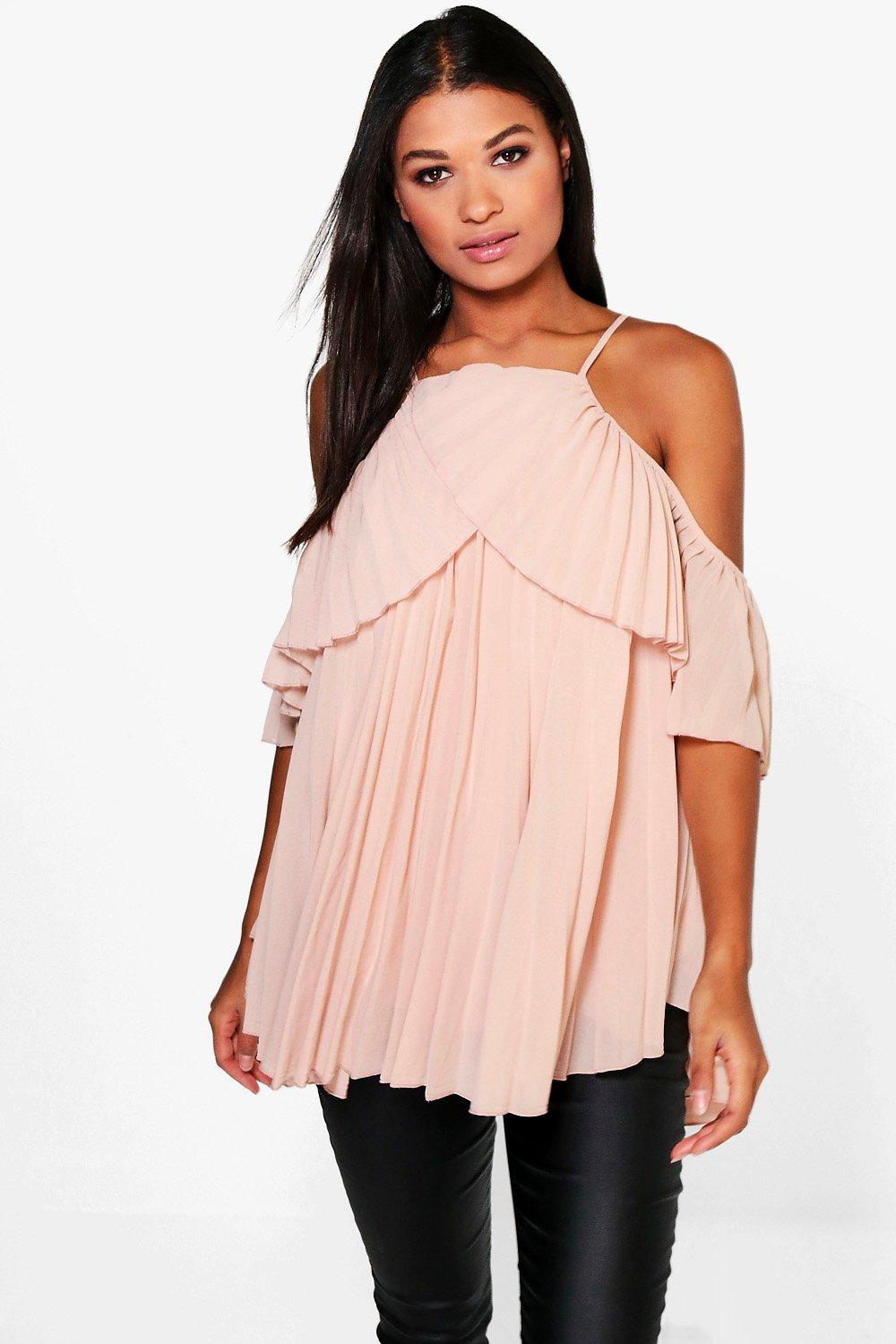 f1b65d61f64e1 Cold Shoulder Pleated Ruffle Top. Hover to zoom