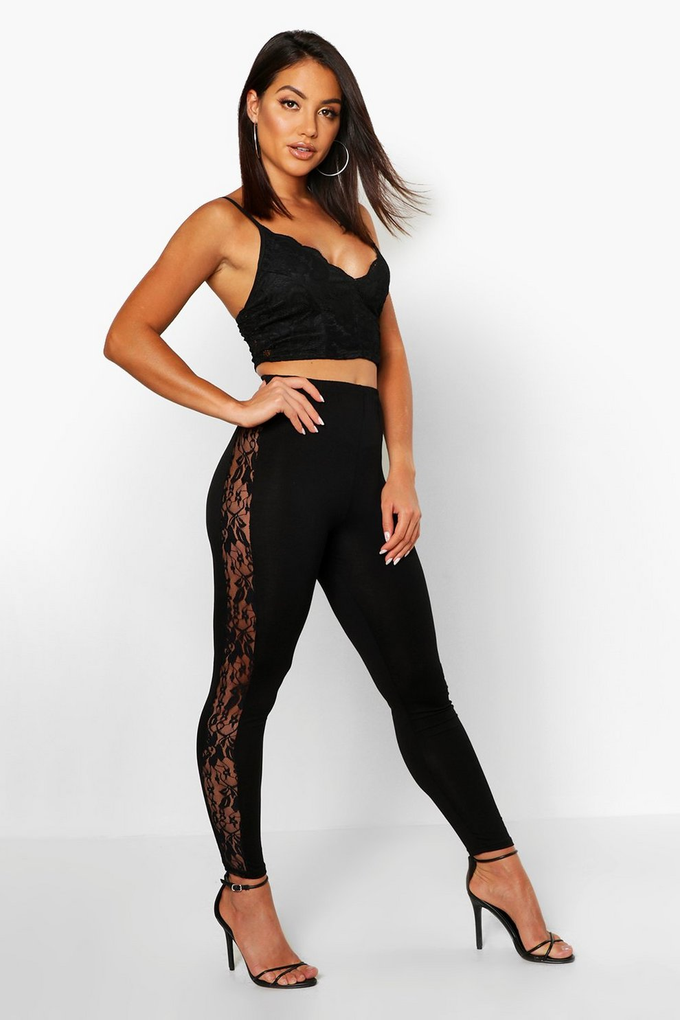f5bc0fead Lace Side Jersey Leggings | Boohoo