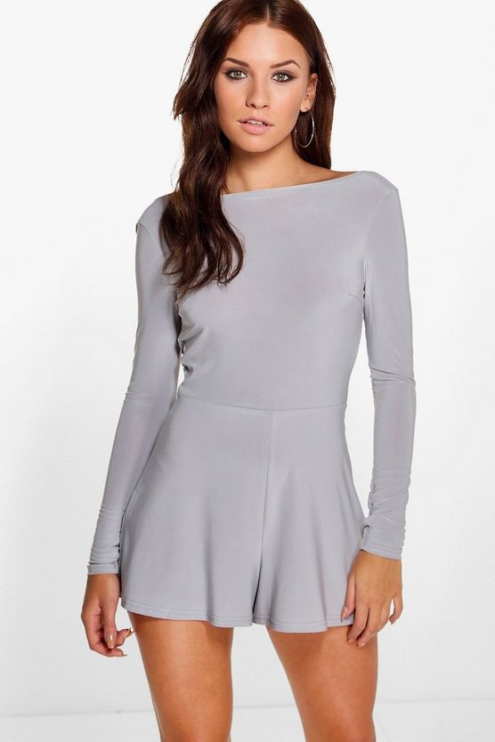 Cowl Back Long Sleeve Playsuit