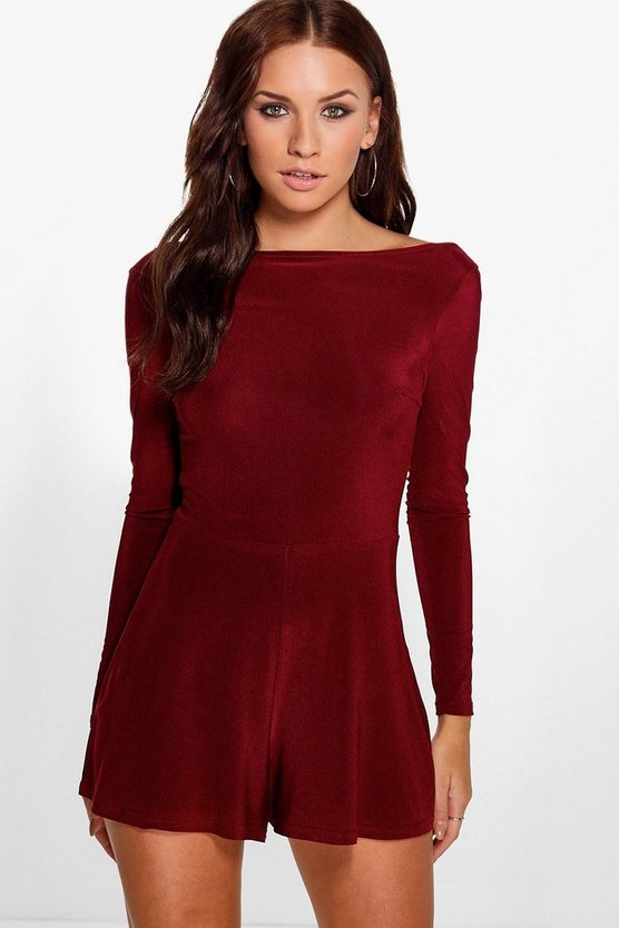 Womens Wine Cowl Back Long Sleeve Romper