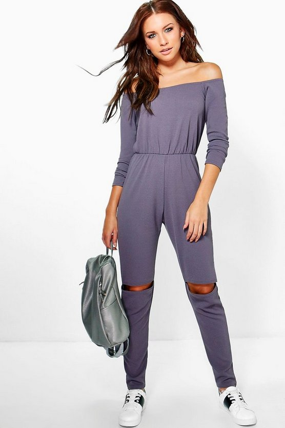 Zoe Off The Shoulder Slit Leg Jumpsuit