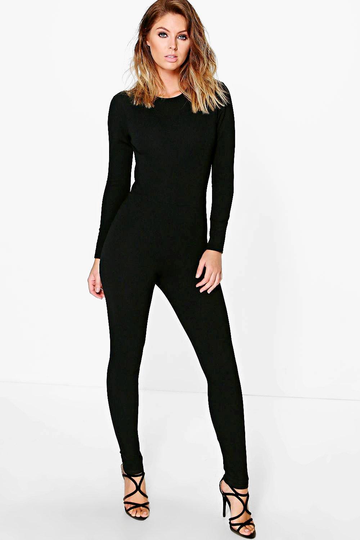 Boohoo Womens Lila Cut Out Back Long Sleeve Jumpsuit | eBay