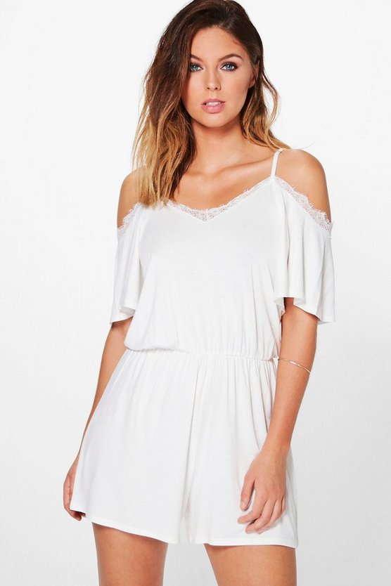 Eyelash Lace Cold Shoulder Playsuit
