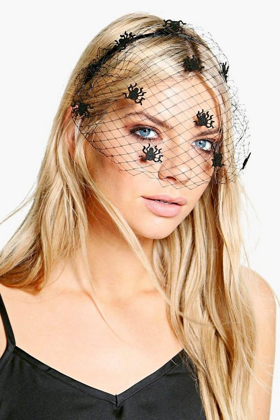 Womens Black Halloween Spider Veil Headband