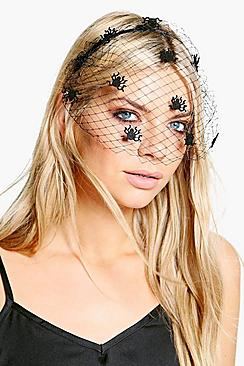 Vintage Retro Halloween Themed Clothing Faye Halloween Spider Veil Headband $9.00 AT vintagedancer.com