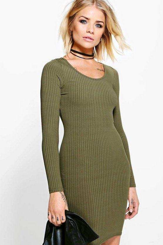 Long Sleeved Ribbed Bodycon Dress