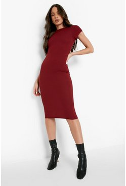Womens Berry Cap Sleeved Ribbed Bodycon Dress