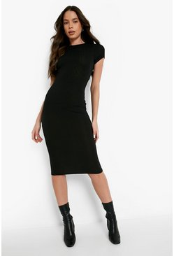Womens Black Cap Sleeved Ribbed Bodycon Dress