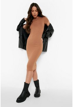 Camel Cap Sleeved Ribbed Bodycon Dress