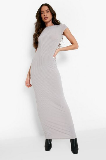 Womens Grey Cap Sleeved Ribbed Bodycon Dress