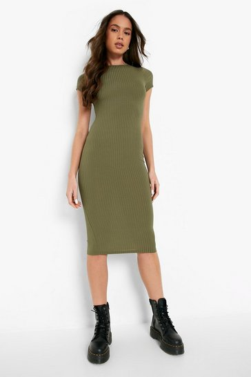 Khaki Cap Sleeved Ribbed Bodycon Dress