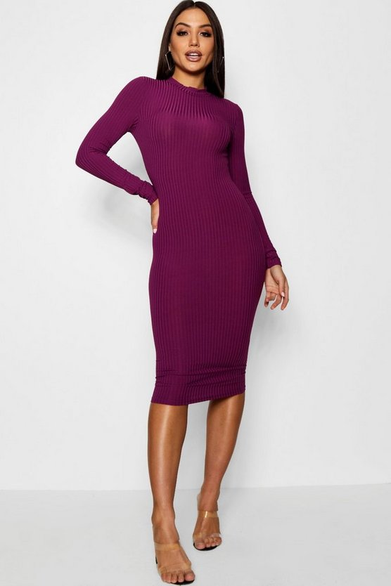 Womens Black plum Ribbed High Neck Long Sleeved Midi Dress
