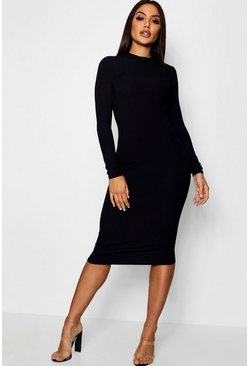 Black Ribbed High Neck Long Sleeved Midi Dress