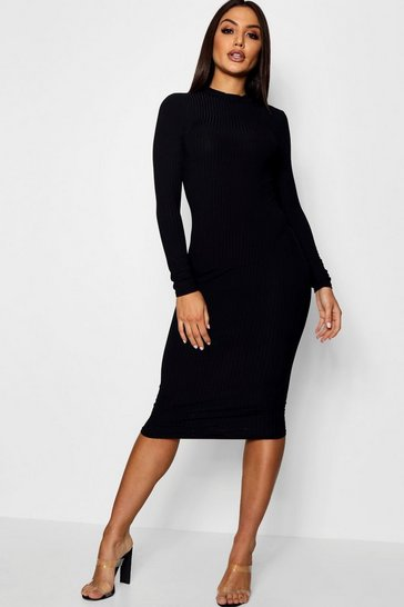 Womens Black Ribbed High Neck Long Sleeved Midi Dress