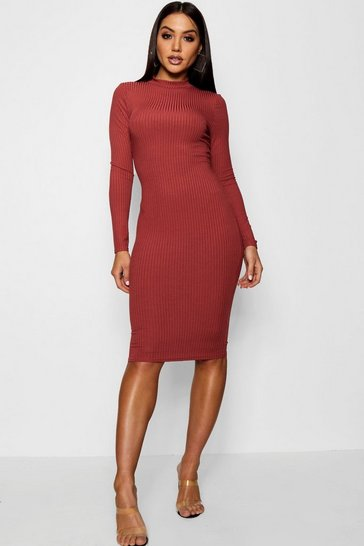 Chestnut Ribbed High Neck Long Sleeved Midi Dress