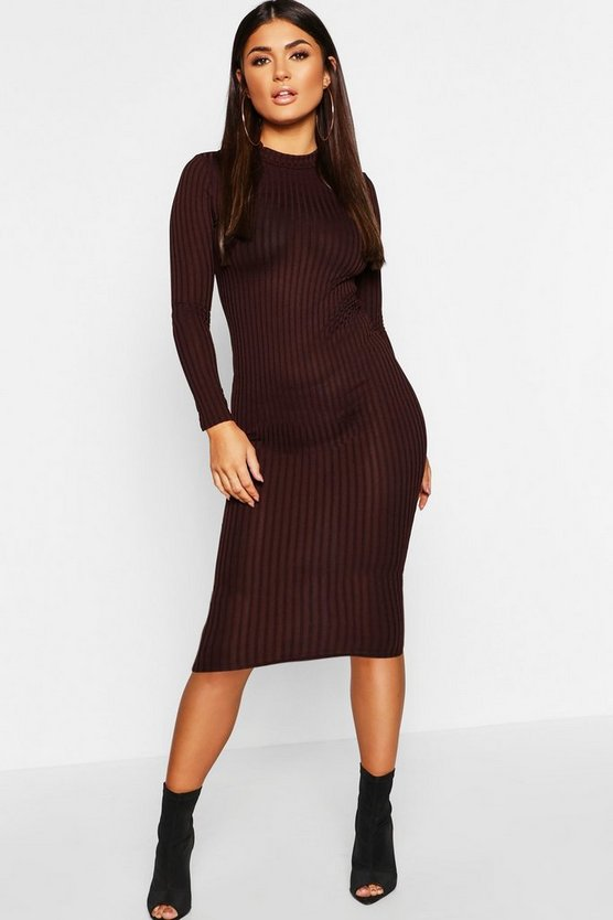 Womens Chocolate Ribbed High Neck Long Sleeved Midi Dress