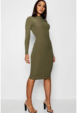 Womens Khaki Ribbed High Neck Long Sleeved Midi Dress