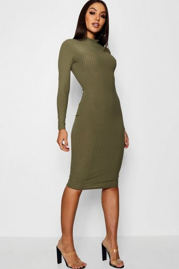 Khaki Ribbed High Neck Long Sleeved Midi Dress